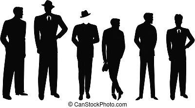 addirsi, uomini, silhouette, retro