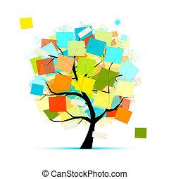 adesivi, disegno, arte, tuo, albero