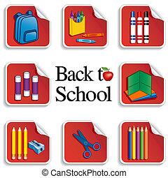 adesivi, scuola, mela, indietro