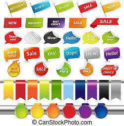 adesivi, set, etichette, vendita