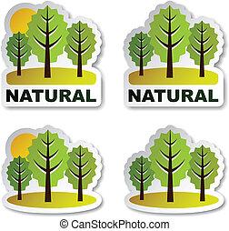 adesivi, vettore, albero, naturale, foresta