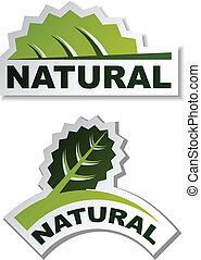 adesivi, vettore, foglia, naturale