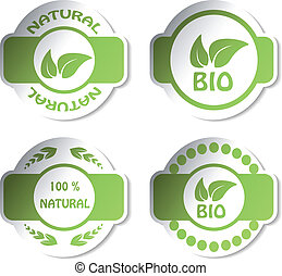 adesivi, vettore, -, naturale, bio