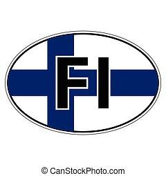 adesivo, bandiera finlandia, automobile