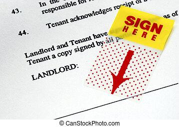 adesivo, noleggio, contratto, sign-here