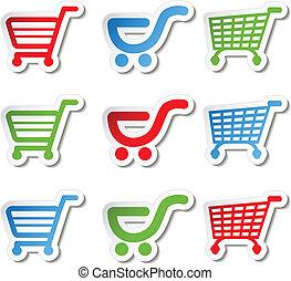adesivo, shopping, bottone, carrello, articolo, carrello