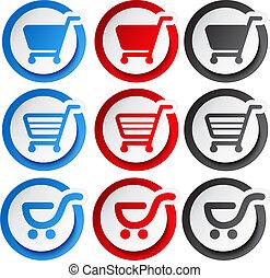 adesivo, shopping, bottone, carrello, vettore, articolo, carrello
