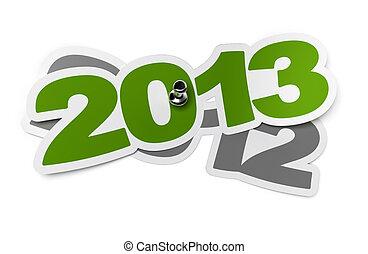 adesivo, sopra, bianco, -, due, verde, thumbtack, fondo, 2012, uggia, 2013, mille, dodici, tredici