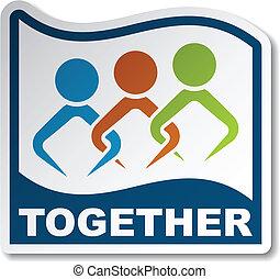 adesivo, vettore, unito insieme, persone