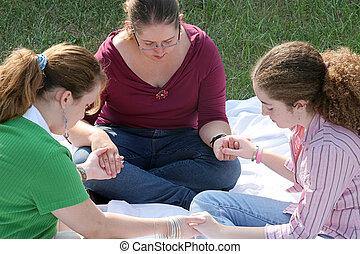 adolescente, 1, cerchio, preghiera