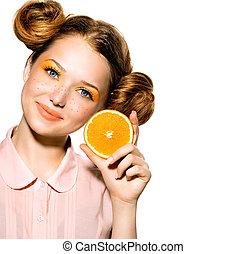 adolescente, bellezza, succoso, ragazza, orange., modello, gioioso