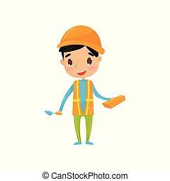 adolescente, builder., poco, protettivo, panciotto, appartamento, trowel., vestito, ragazzo, striscie, vettore, presa a terra, profession., aspirazioni, riflessivo, mattone, futuro, sogno, casco, capretto