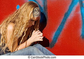 adolescente, detto, cristiano, mani, preghiere, ragazza, pregare, o, afferrato
