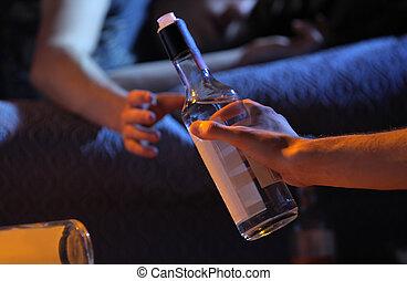 adolescente, dipendenza, concetto, alcool