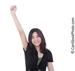 adolescente, elevato, successo, giovane, uno, fiducioso, ragazza, braccio