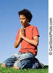 adolescente, ginocchia, cristianesimo, preghiera