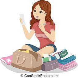 adolescente, leggere, viaggiare, elenco, ragazza, assegno