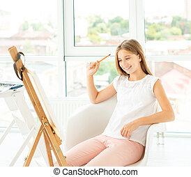 adolescente, matita, ragazza, grafico, disegno