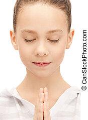 adolescente, pregare, ragazza