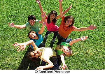 adolescenti, diverso, gruppo, felice