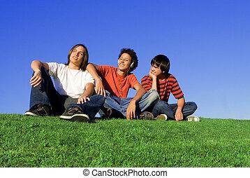 adolescenti, diverso, gruppo