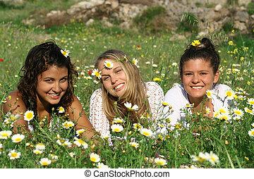 adolescenti, gruppo, hippy