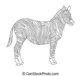 adulti, cavallo, strisce, wild., coloritura, linea, zebra., vettore, bambini, serie, animali, zebra, isolato, arte, fondo, bianco, animali, nero, realistico, linea., carino, libro, africa, uno, studiare