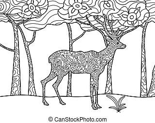 adulti, raster, coloritura, cervo, libro