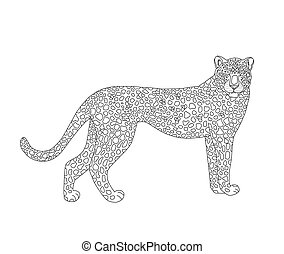 adulti, rosso, spot., coloritura, piccolo, leopard., animale, serie, vettore, bambini, elencato, bello, raro, animali, pagina, pelle, gatto, aggraziato, libro, family., libro