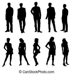 adulti, silhouette, nero, bianco, giovane