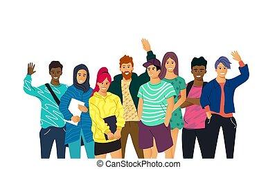 adulto, diverso, collezione, giovane, studenti