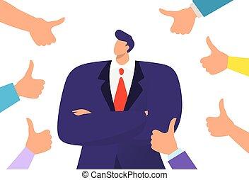 adulto, gesto, pollici, illustration., uomo, completo, mani, fiducioso, simbolo, vettore, support., concetto, affari, riuscito, circondato