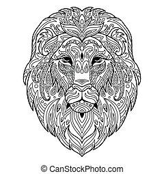 adulto, libro, pagina, coloritura, leone, groviglio
