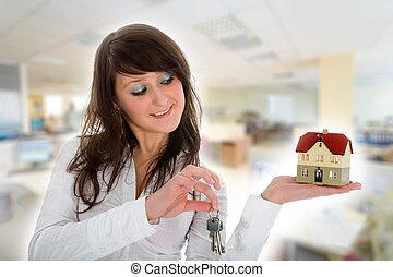 advertises, reale, affari donna, proprietà