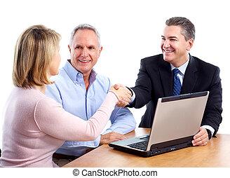 adviser., anziano, finanziario, coppia