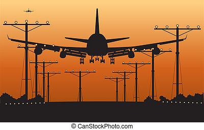 aereo di linea, atterraggio, tramonto