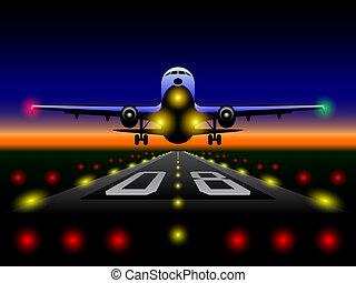 aereo di linea, tramonto, atterraggio