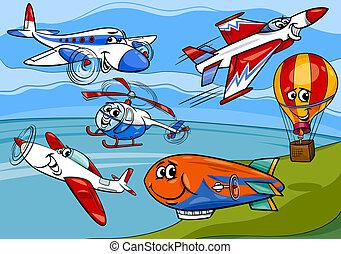 aereo, gruppo, cartone animato, illustrazione, piani