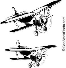 aereo, silhouette, icone