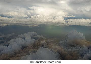 aereo, tramonto, sopra, nubi