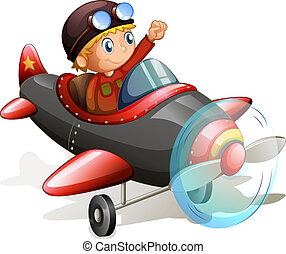 aereo, vendemmia, giovane, pilota