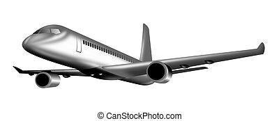 aereo, volo, jet, pieno
