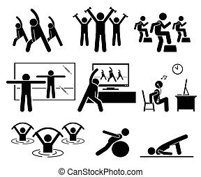 aerobico, palestra, stanza, instructor., classe