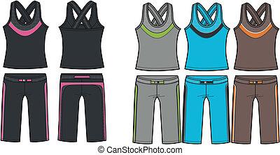 aerobico, set, signora, sportivo