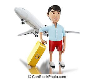 aeroplano., 3d, uomo, valigia