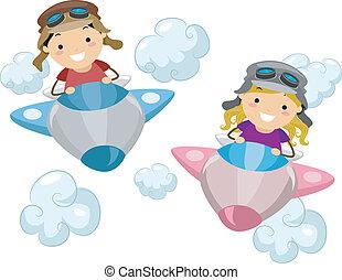 aeroplano, bambini