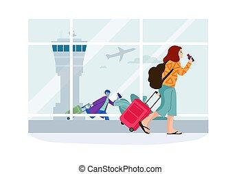 aeroplano, biglietti, board., portante, donne, partenza, terminal., andare, in crosta, wheels., carattere, valigia, bagaglio, passeggero, femmina, cartone animato, aeroporto., vettore, illustrazione, viaggiare