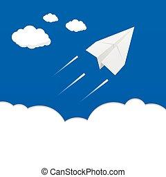 aeroplano, carta, nubi, sopra, illustrazione