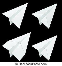 aeroplano carta, set, bianco, illustrazione