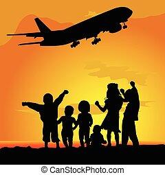 aeroplano, silhouette, bambini, illustrazione